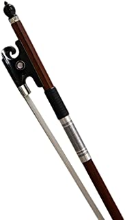 PAITITI 4/4 Full Size Violin Bow Brazil Wood Mongolian Horsehair Round Stick Black Ox Horn Artist Frog Fully-Line Abalone Inlay Silver Wrap