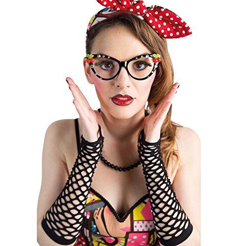 PARTY DISCOUNT Brille Rockabilly, schwarz mit Brillies