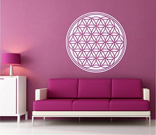 Sticker mural autocollant Motif fleur de vie Sticker mural Fleurs comme négatif 60 cm de vie dans 33 couleurs mat ou brillant - Gris mat