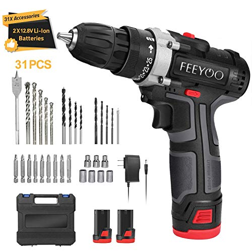 Cordless Drill Driver Kit with 2 Batteries FEEYOO 128V 28Nm Cordless Drill Screwdriver Set 31Pcs 2x3900mAh Batteries 2 Speed 251 Torque Settings 10mm Automatic Chuck Builtin LED Light