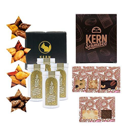 KERNenergie Weihnachten Geschenk-Set, Schokolade und Nuss-Mix – festliche Schokoladen-Tafeln und Nuss-Mischungen, Feinkost-Präsent, 9 x 98 g