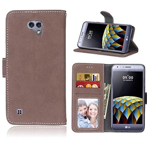 LMAZWUFULM Hülle für LG X Cam / K580 5,2 Zoll PU Leder Magnet Brieftasche Lederhülle Retro Gefrostet Design Stent-Funktion Ledertasche Flip Cover Kaffee