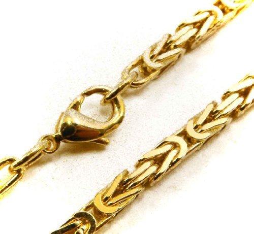 Königskette vergoldet 4mm quadratisch Länge wählbar 42-90cm, direkt ab italienischer Fabrik