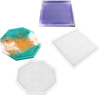 DIY Coaster Silikonformar för harts, robust hexagon kvadratisk rundform bottenfäste för gjutning med harts, betong, cement,Ab