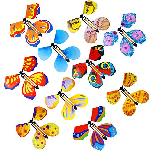 Mukum 10 Packs Magic Fairy Flying Butterfly Wind Up Butterfly Toy for Surprise Gift Band Powered Magic Fairy Flying Toy Surprise Party Playing Supplies