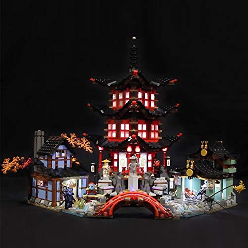 ZJJ Kit De Iluminación Compatible con Lego 70751 del LED Light Kit para (06022 Ninjago Templo De Airjitzu Kai Cole) Building Blocks, (No Incluido El Modelo)