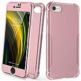 ORETECH Funda Compatible con iPhone 7/8/SE 2020, con [2X Protector de Pantalla de Vidrio Cristal Templado]360 Antichoque Delgado Silicona TPU Hard PC Caso Carcasa para iPhone 7/8/SE 2020-Oro Rosa 4,7'