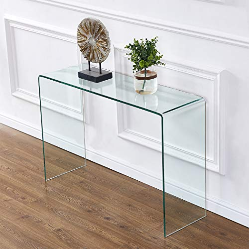 2020 Clear Glass Narrow Console Table,Entryway Table,Sofa Table,Behind Couch Table(43.3x13.8x29.5)