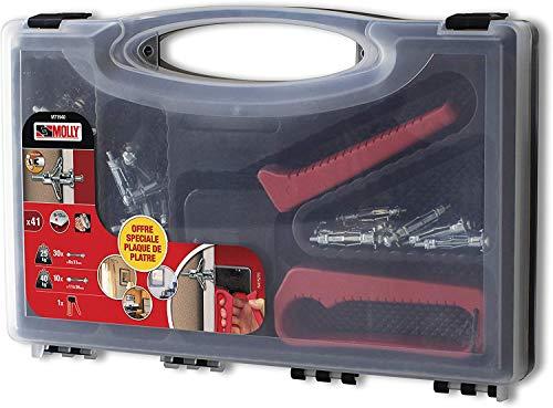 Molly M71940-XJ m71940 - Juego de 40 tacos metálicos + pinza – 30 tacos de metal 4 x 33 mm – 10 tacos de metal 5 x 36 mm – Herramienta de colocación – Color gris – Juego de 41 piezas