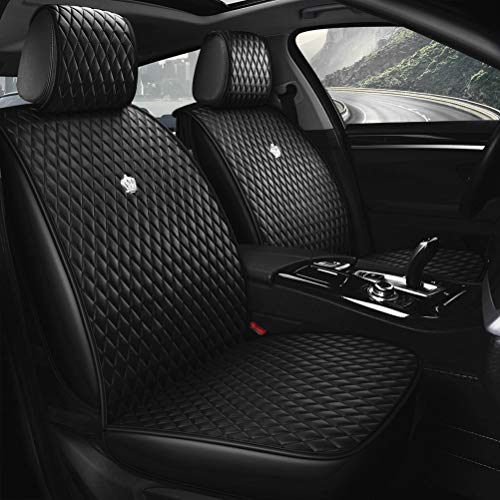 Luxury Black Leather Car Seat Cover Front & Rear Seat Covers with Airbag Compatible 9PCS Universal Leather Seat Cover Fit Car Auto SUV (B-Black)