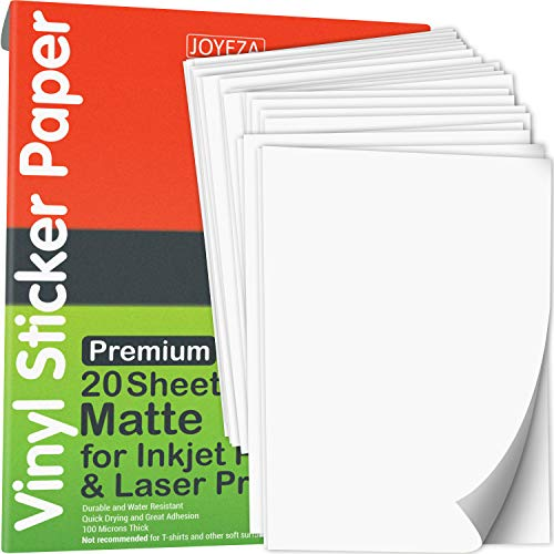 JOYEZA Premium Printable Vinyl Sticker Paper for Inkjet Printer - 20 Sheets Matte White Waterproof, Dries Quickly Vivid Colors, Holds Ink well- Tear Resistant - Inkjet & Laser Printer
