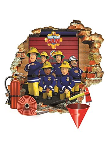 Feuerwehrmann Sam 3D Wandaufkleber Kinder Schlafzimmer Aufkleber Junge Mädchen ruinierte Art Wandbild Tapete groß 57 cm X 62 cm