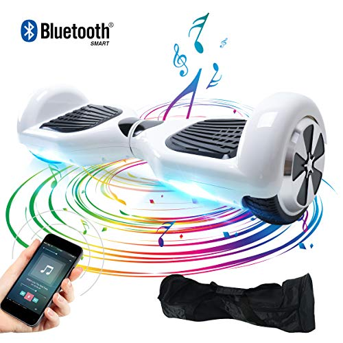 Windgoo Hoverboard, 6.5 Zoll Self Balance Scooter mit Bluetooth Lautsprecher, LED Lights Elektro Scooter E-Skateboard (Weiß)