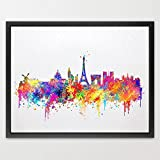 Dignovel Studios 8X10 Paris Skyline France City Watercolor Illustrations Art Print Kids Art Print Wedding Gift Home Decor Art Birthday Gift Wall Hanging N390