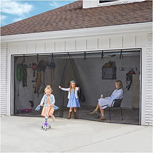 UnBugs Garage Screen Doors for 2 Car Garage - Heavy Duty Self-Seal Keeps Bugs Out; Breeze in - Hands Free, Pet & Kid Friendly-Screen Fits Double Garage Door Opening up to 16 Feet Wide x 7 Feet Tall