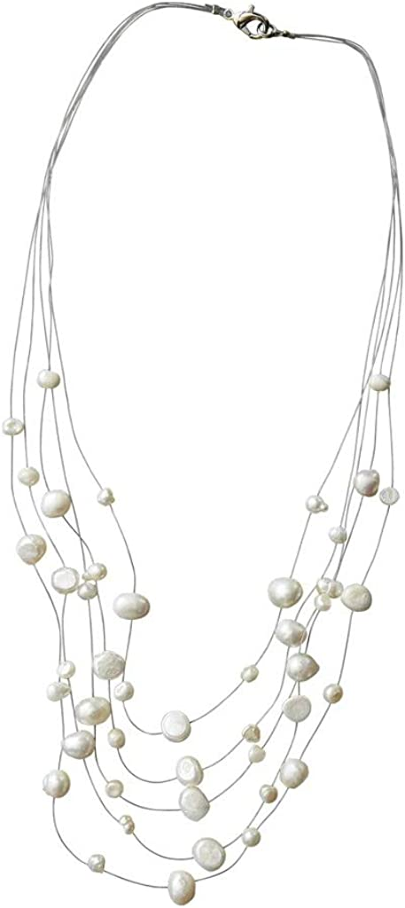 Tickled Pink 810198 White Pearl Illusion Necklace, 10-inch High