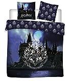 Harry Potter - Juego de cama 100% algodón, funda nórdica de 240 x 220 cm + 2 fundas de almohada de 65 x 65 cm