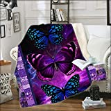 Ultra Soft Butterfly Theme Blanket for Kids and Adults Microfiber Plush Sherpa Blanket for Bed and Couch Warm Fuzzy Throw Blanket Cozy Throws Blankets (Butterfly01, 130cm x 150cm(51'' x 59''))