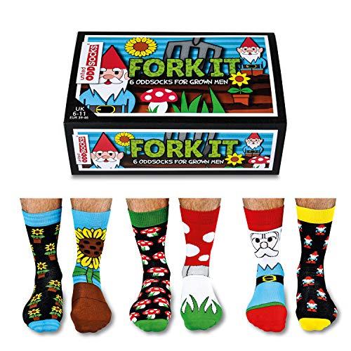 Fork It - Calcetines para hombre (desparejados, 6 unidades, tallas 39 a 46), multicolor