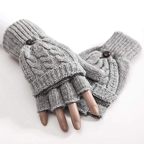 IMmps Frauen wärmen Flip weiche halbe Fingerhandschuhe gestrickte Starke Faux-Pelz-warme Herbst-Winter-Handschuhe-T708Gray