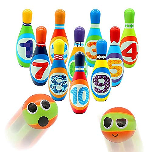 Best Price Kids Bowling Set 8 Pins and 2 Balls Plastic Ball Indoor Sport Games Party Family Games Ed...