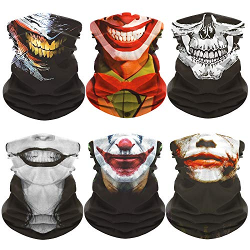 Clown Skull Neck Gaiter Face Mask Bandana Face Sleeve for Halloween (6 PCS)