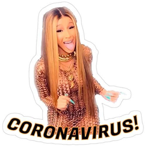 Stickers Corona Virus Cardi B (3 Pcs/Pack) Wall Decals 3x4 Inch