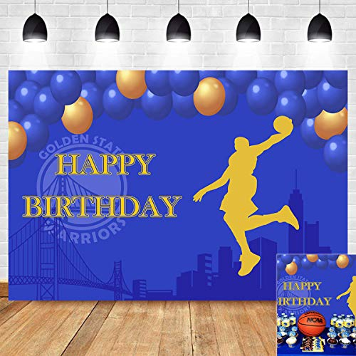 Basketball Slam Dunk Photography Backdrop Yellow and Blue Balloon Photo Background Children Sports Themed Birthday Party Golden State Warriors Banner Supplies Vinyl 5x3ft Cake Table Decorations