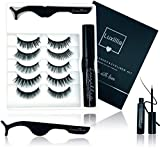 8D Magnetic Eyelashes with Eyeliner Kit, Most Natural Look, Strongest Hold, Waterproof Liquid Eye Liner, No Glue Reusable Lashes, False Eye Lash Set, Best Quality Eyelash Magnet, Free Tweezers