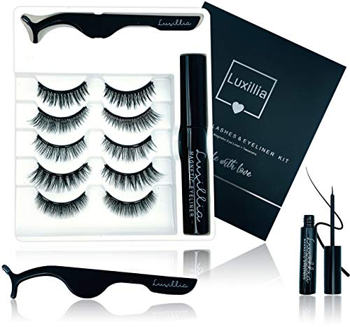 Luxillia Magnetic Eyeliner and Lashes Kit, No Glue Reusable 5D False Eye Lash, Magnetic Eyelashes Set with Most Natural Look, Best Quality Eyelash Magnet, Waterproof Liquid Eye Liner, Free Tweezers