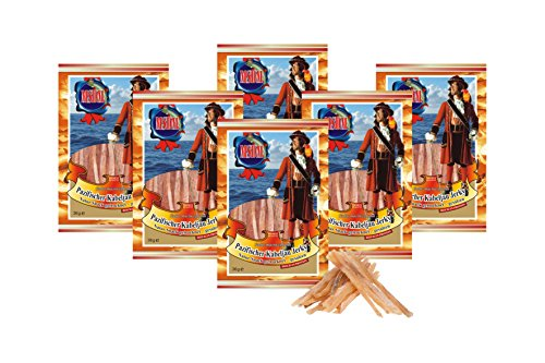 Pazifischer Kabeljau Jerky - Original (6 x 36g Pack) Natur Snack getrocknet & gesalzen I Low Carb I High Protein I Fitness Snack I Trockenfisch reich an Omega 3 I für Männer & Frauen