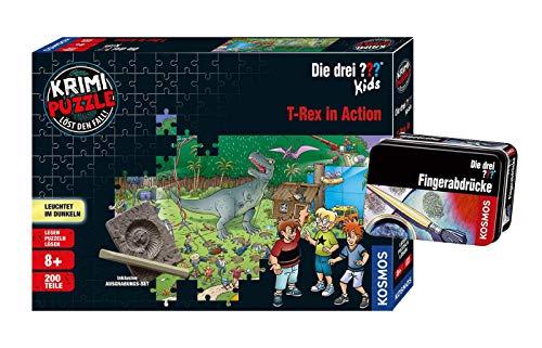 Kosmos Die DREI ??? Kids - Set: T-Rex in Action (Krimi Puzzle) + Forscherkästchen (Verschiedene Auswahl), Detektiv-Set
