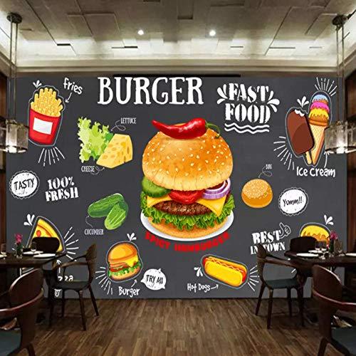 CQDSQN Fotos Retro- Burgeressen des gebratenen Huhns des Restaurants Wandgemälde 3D PVC Selbstklebend Wandaufkleber Tapete Kinder Junge Mädchen Karikatur Film Zuhause Schlafzimmer Hinte(B)300x(H)210cm