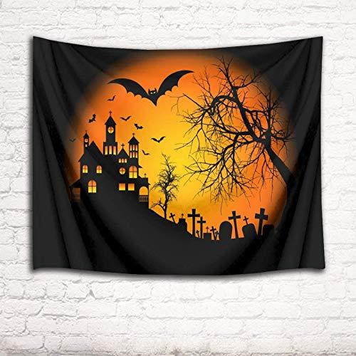 Tapiz de Halloween Castillo de murciélago Árbol muerto Cementerio Noche Luna llena Decoración de pared Tapices Colgante de pared para sala de estar Dormitorio Dormitorio Decoración del hogar