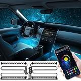Oasser 車LEDテープライト イルミネーション 車 雰囲気LEDライト 多色 車内 RGB 4*12高輝度LED装飾ライト Bluetoothアプリ/コントローラ付き フロア ライト 音に反応 カスタマイズ色 DC12Vカーチャージャー 防水 L1