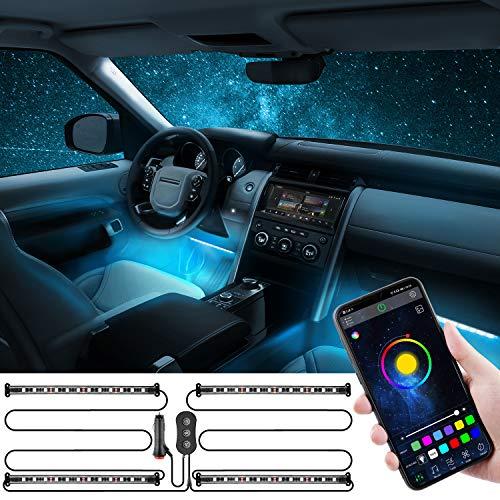 Oasser Auto Innenbeleuchtung LED Auto Innenraumbeleuchtung Zwei-Linien-Design wasserdicht APP Steuerbare mehrfarbig Musik Auto LED Strip mit Zigarettenanzünder 12V