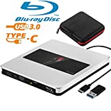 External Blu Ray Drive NOLYTH External Blu Ray DVD Drive USB3.0 USB C 3D Bluray Drive Player Burner Writer for Laptop/Mac/MacBook Pro/Air/PC/Windows with Protactive Storage Carrying Case