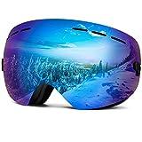 Wantdo Ski Goggles Frameless Spherical Snowboard Goggles Revo Blue,VLT 22%