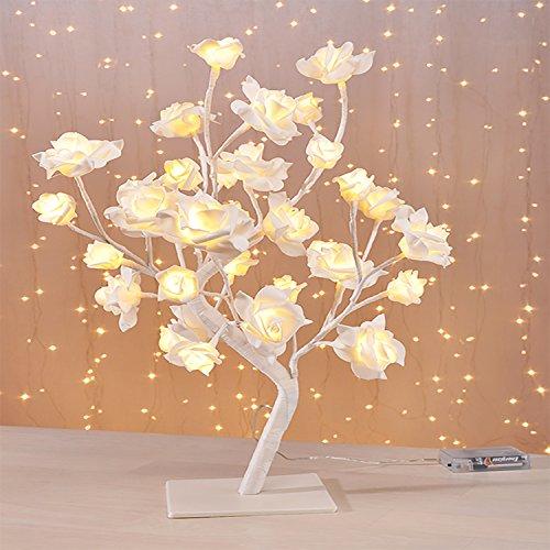 LED Arbre lumineux chaud de Rose LED blanches h 45 cm Noël Arbre lumineux Fleur Coton Blanc