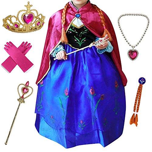 Canberries® - Disfraz de princesa para niña, vestido brillante, disfraz de Navidad, carnaval, fiesta, Halloween, set de diadema, guantes, varita mágica, trenza, collar #08 vestido y accesorios. 100 cm