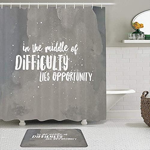 Juego de 2 cortinas de ducha con alfombrilla de baño antideslizante, cita inspiradora de viajeros positiva por el éxito de la plaza inspiradora y filosófica Albert Einstein, 12 ganchos, decoración de