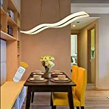 Aipsun 36W Modern Wave LED Pendant Light Dimmable Fixture Ceiling Light Contemporary Chandelier Hanging Light Fixture for Living Room Restaurant Dining Table Bedroom (with Remote Control)