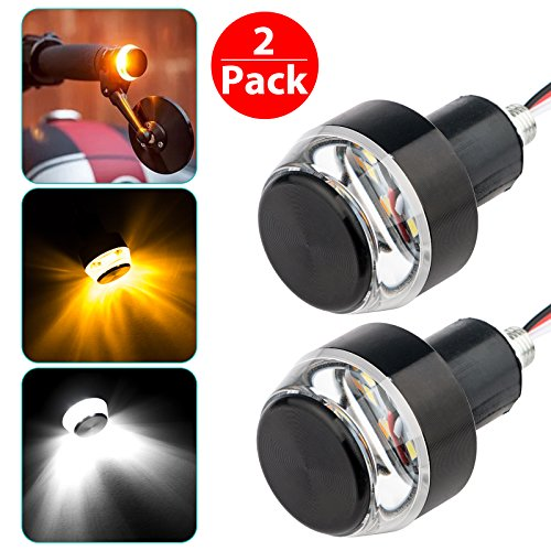 Motorcycle Turn Signal Light Grip Bar Plug Strobe Side Marker End LED Handlebar, Motorcycle Handle Bar Grip Plug Side Marker Lamp Accessory, Black, 2-Pack