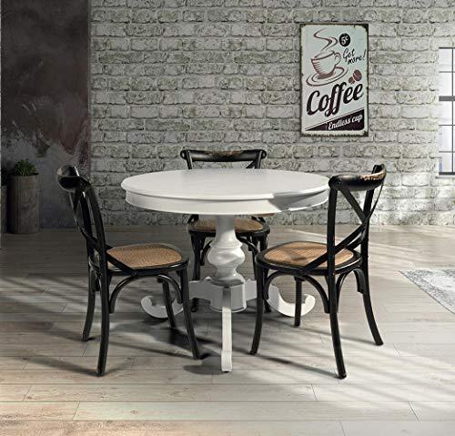 Milani Home s.r.l.s. Tavolo da Pranzo Moderno di Design Rotondo Diametro 100 Cm con Allunga da 40 Cm Bianco per Sala da Pranzo Cucina Ristorante