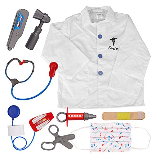 TOPTIE Doctor Role Play Set Dress Up Surgeon Costumes Set for Kids Great Gift Idea-Doctor-S