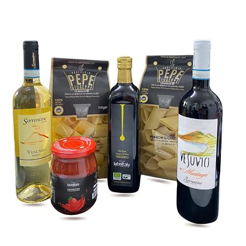 Labelitalyvip Pak8 prodotti tipici Made in Italy : pasta artigianale, olio, pomodorini e vini biologici