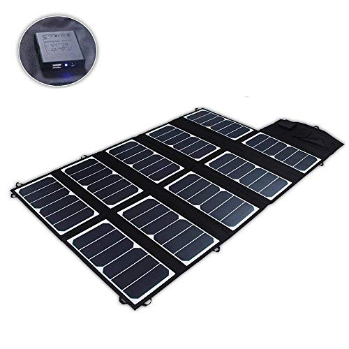 SUNKINGDOM S 65W 2-Port DC USB Solar Battery Charger with High-Efficiency Portable Foldable Solar Panel PowermaxIQ Technology for Power Case and Phone,Tablet and More (Black)
