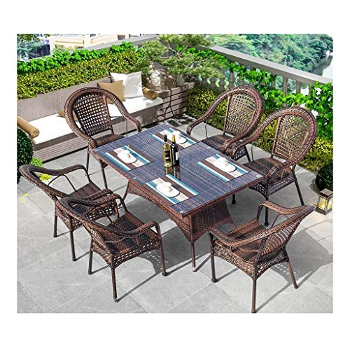 DYYD Juegos de Muebles de jardín Rattan Muebles de jardín Juegos de Patio Mesa y sillas Conjuntos de Cristal Mesa de café Mesa de Conversación Conversación Patio al Aire Libre