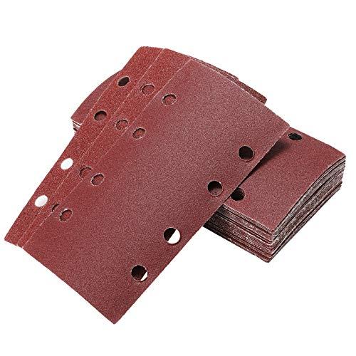 40 Stück Schleifpapier Schleifblätter Set Körnung 60 80 120 240, 8 Löcher Schleifblattset für Schwingschleifer Holz und Farbe, 95 x 185 mm
