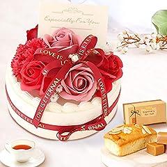 母の日 の プレゼント バラ おいもやケーキ洋菓子 花とスイーツ シャボンフラワー ソープフラワー アレンジメント 母の日ギフト (ホイップケーキ・レッド)